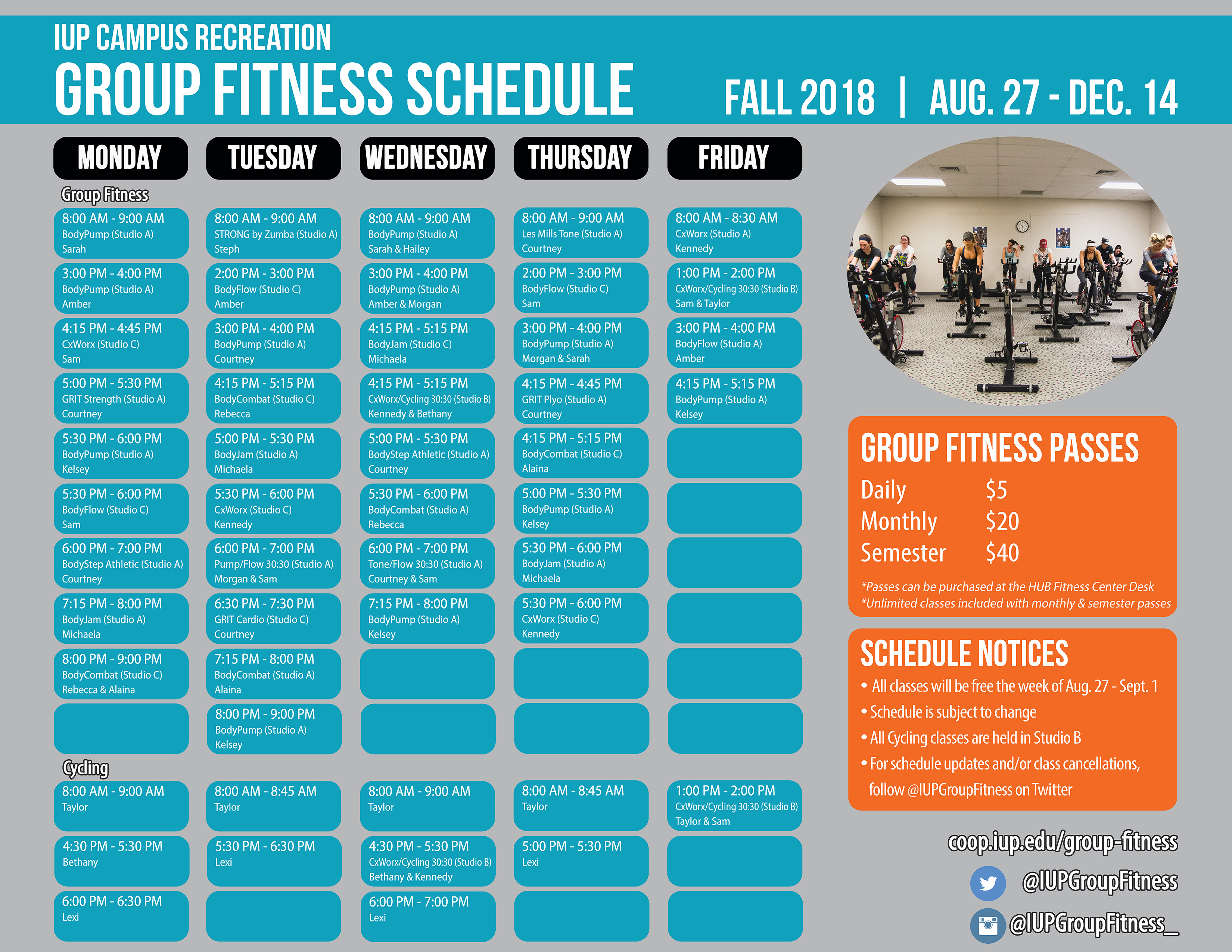 Group Fitness Les Mills Spinning Classes